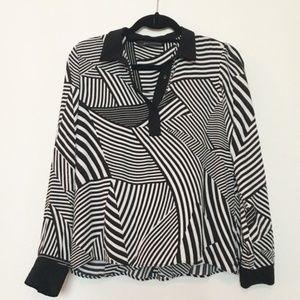 Zara Woman Black and White Striped Blouse